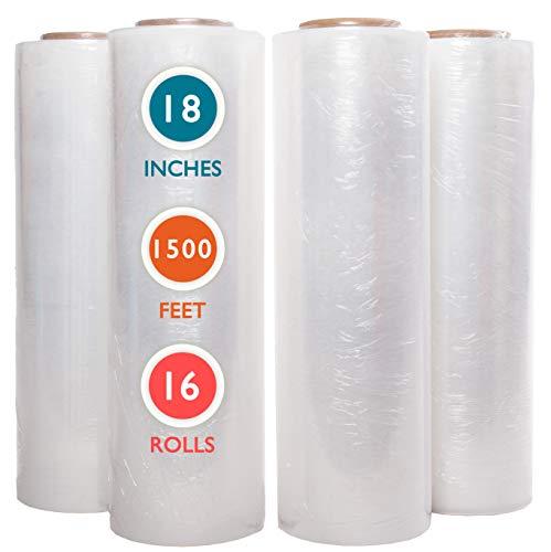 "16 Rolls 18"" x 1500 Ft Stretch Wrap Heavy Duty, Industrial Strength Shrink Wrap, 55 Gauge High Performance Stretch Film Replaces 80 Gauge Low Films, Clear Hand Stretch Wrap"