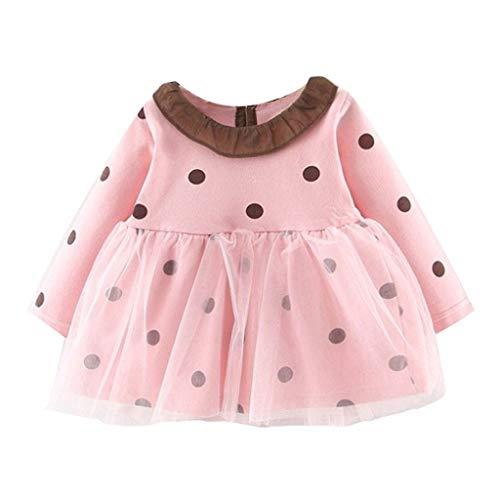 HWTOP Kinderkleidung Koreanische Prinzessin Kleid Kleinkind Baby Mädchen Abendkleider Polka Dot Druck Süßes Ballkleider Tüll Partykleid Outfits Kleidung, Rosa, 12-18 Monate
