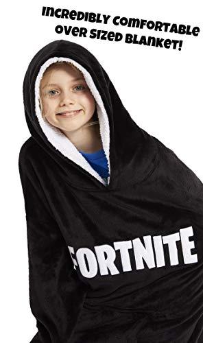 Fortnite Hoodie for Boys, Oversized Hoodie Sweatshirt Blanket, Super Soft Fleece Dressing Gown, Warm Comfortable Hooded Robe, Gifts for Gamers Boys Girls Teens 7-14 Years (Black)