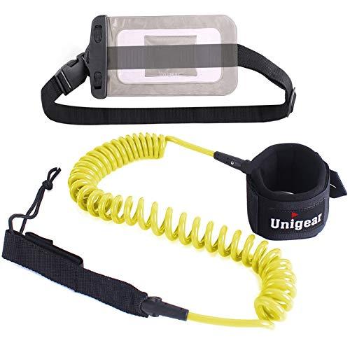 Unigear Leash de Surf, Leash Enroulé pour Planche de Surf en TPU 7mm et 10 Pieds avec Une Poche de...