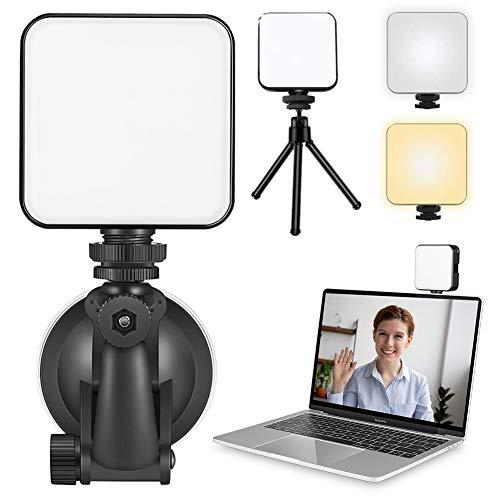 INHDBOX Videokonferenz Licht Einstellbar Helligkeit und Temperatur mit Saugnapf und Stativ Ständer, LED Videoleuchte Wiederaufladbar für Live-Streaming, Videoanruf, Konferenz, Online-Unterricht