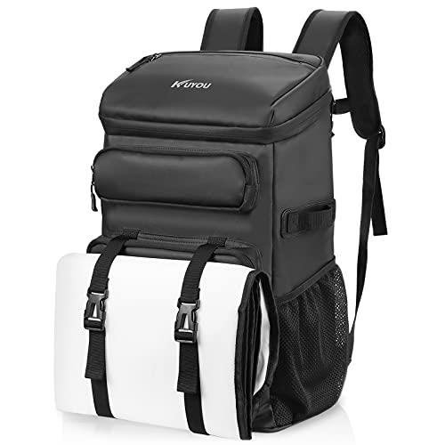 KUYOU 45L Kühltasche, Picknickrucksack, Lunchtasche, Thermotasche, Isolierrucksack für Lebensmitteltransport, Rucksack schwarz