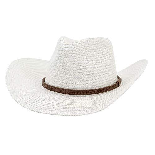 Xuguiping 2019 heren dames Western Cowboy hoed stroh Fedora hoed outdoor strandhoed dunne riem zonwering zonnehoed 56-58cm wit
