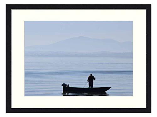 OiArt Wall Art Print Wood Framed Home Decor Picture Artwork(24x16 inch) - Umbria Trasimeno Fisherman Lake Water