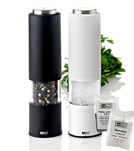 AdHoc Geschenk-Set elektrische Pfeffermühle und Salzmühle TROPICA Schwarz und Weiß mit Keramikmahlwerk inkl. Salz & Pfeffer