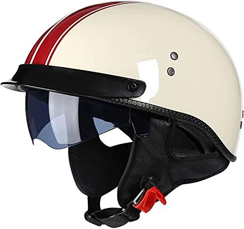 Open Face Helmet Retro Motorcycle Half Helmet Men and Women DOT Approved Baseball Cap Style Helmet Bike Cruiser Chopper Moped Scooter ATV Helmets for Outdoor Riding A ( Color : A , Size : 55-56cm )