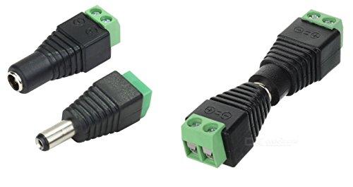 1 Paar CCTV DC Stecker 2,1 x 5,5 mm Adapter mit Schraubklemme z.B. Kamera weibchen männchen
