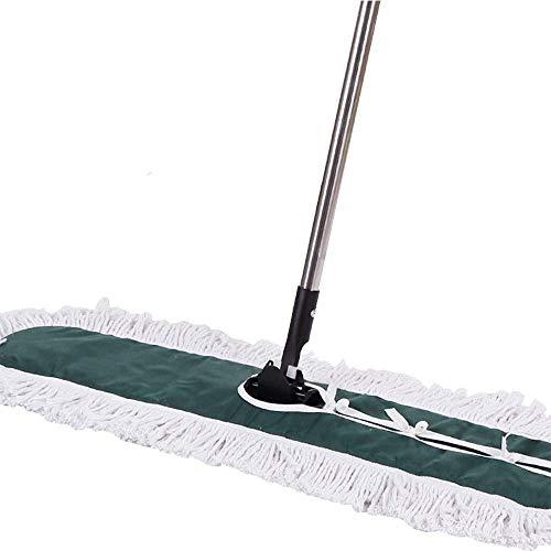 STRAW Industrial Class Piano Mop del Cotone | al di Polvere, Sporco o Pavimento di Legno Pulito, Ufficio, Garage Cura, telescopici Polo Altezza