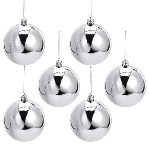 TOYANDONA 12pcs Christmas Silver Balls Ornament Plastic Xmas Tree Hanging Decoration for Party Home Indoor Festival Garden Decor Pedant