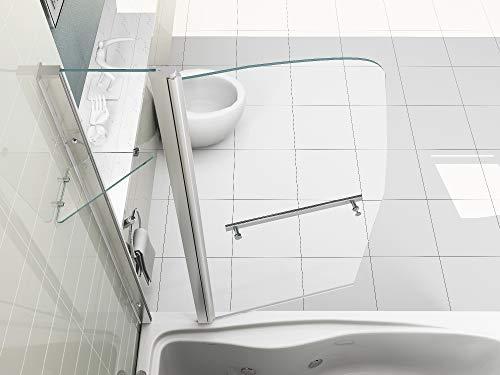 HNNHOME - Mampara de Ducha con Pivote de 180º Doble Panel Cristal con 6mm de Grosor Estilo Vela con Toallero y Estante