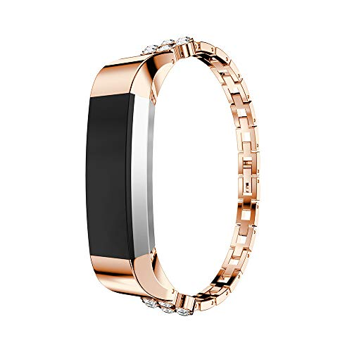 HBNNBV Rhinestone WatchBand Band Compatible con Fitbit Alta HR Smart Watch Muñeca Fitbit Fitbit Alta Accesorios de reemplazo Pulsera Cierre de reemplazo (Band Color : Rose Gold)
