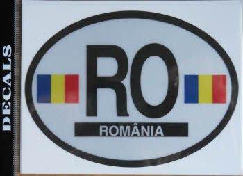 Länderflagge Rumänien, ovaler Aufkleber.