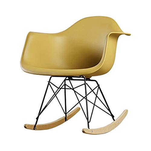 HOLPPO-Desk Silla del Ocio, Silla de oscilación Creativa Adulto Moderno de Sala de Estar Perezoso Balcón Presidente, Amarillo (Color : E)