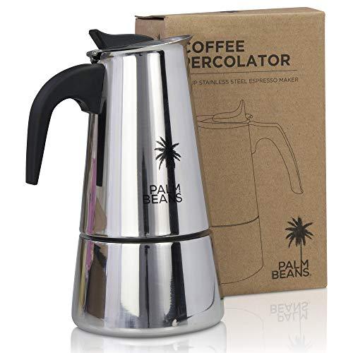 Palm Beans Espressokocher Induktion geeignet | Edelstahl | 4-6 Tassen Espressokanne | 12oz Mokkakanne