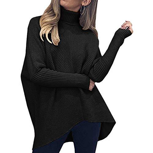 ITISME Pull Femme Hiver Automne Col Haut Pas Cher A La Mode Casual Décontractée Irrégulier Solide Manche Longue Demi Manche Tricoté Chandail Haut Pullover Top Blouse Chic