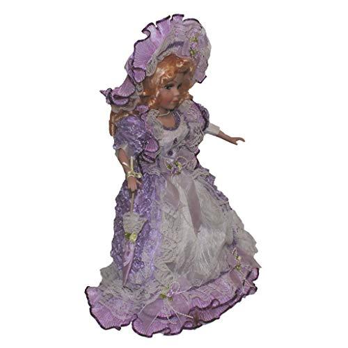 dailymall Modelo de Muñeca Femenina de Porcelana Victoriana de 40 Cm en Vestido Morado Claro Decoración del Hogar