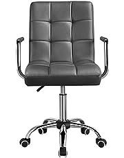 Yaheetech Bureaustoel, ergonomische bureaustoel, draaistoel, werkkruk met wielen, armleuning, managersstoel, in hoogte verstelbaar, van kunstleer, wit