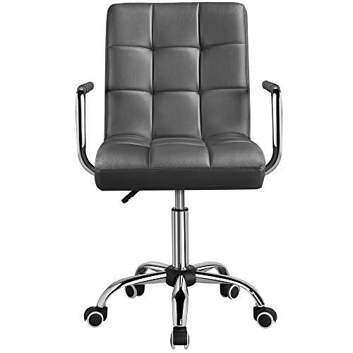 Yaheetech Bürostuhl Ergonomischer Schreibtischstuhl Drehstuhl Arbeitshocker mit Rollen Armlehne Chefsessel höhenverstellbar aus Kunstleder Weiß (Grau)