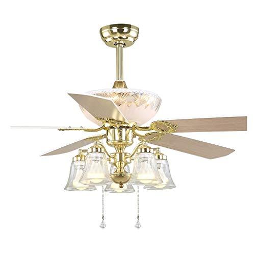 Luz silenciosa del ventilador de techo Ventilador Ventilador de Oro europea 5 Hoja luz de techo de madera clara de estar Ventilador Luz E27 * 5 Habitación de dormitorio de la lámpara del ventilador el