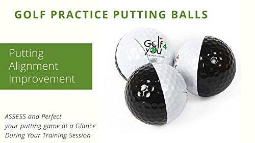 Novelty Golf Practice Putting Balls - Pack of 3 Balls True Roll Putting Ball - Putting Alignment Improvement Accessory. ASSESS And Perfect Your Putting Game at a Glance During Your Training Session