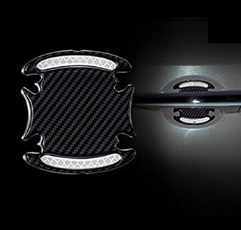 TRUE LINE Automotive Carbon Fiber Inner Door Handle Scratch Protector Reflective Warning Marker Trim Molding 4PC  Silver