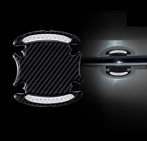 TRUE LINE Automotive Carbon Fiber Inner Door Handle Scratch Protector Reflective Warning Marker Trim Molding 4PC (Silver)