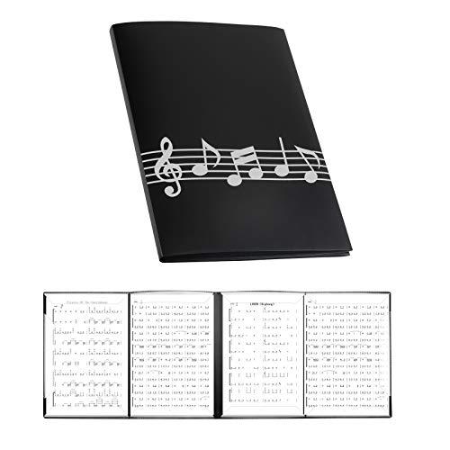 LAMEK 4 caras Carpeta de música plegable Carpeta de música negra Soporte...