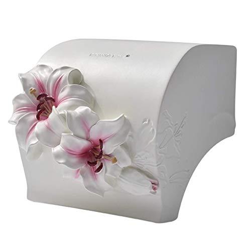 MUZIDP Caja de Tejido Caja Creativa Impermeable Baño Rollo de Inodoro Toalla de Papel Toalla de Resina Lily 14.5x14x8.5cm Caja de Tejido (Color : Pink)