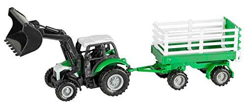 Idena 40291 Tractor met afneembare aanhanger, terugtrekmotor en voorlader met trekhaak, schaal 1:43, ca. 28 cm.