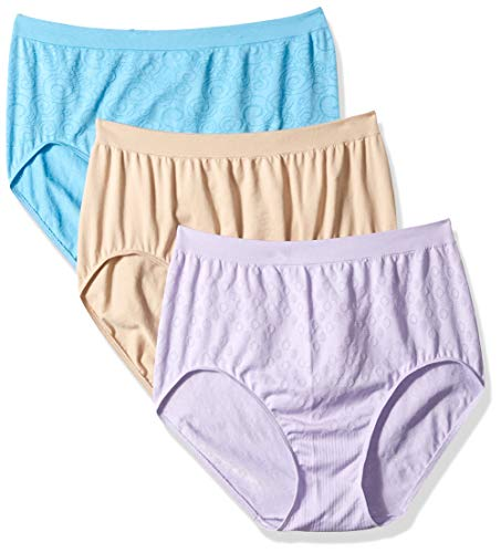 Bali Women's Comfort Revolution Brief Panty 3-Pack, Nude/Raindrop Blue/Orchid, 11