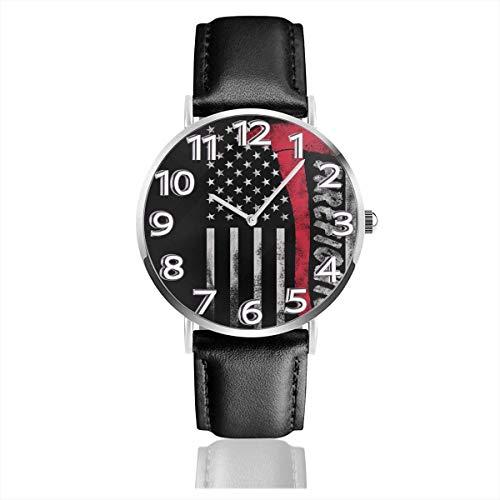 Reloj de Pulsera Axe of America Flag Durable PU Correa de Cuero Relojes de Negocios de Cuarzo Reloj de Pulsera Informal Unisex
