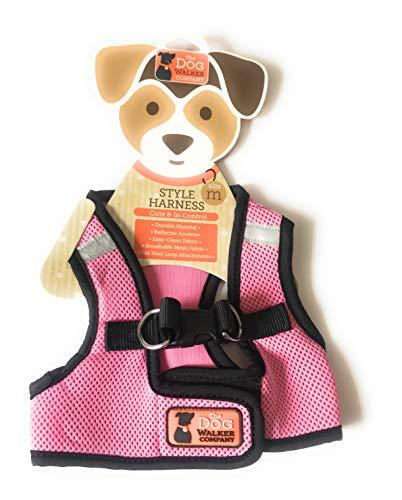 The dog walker company Reflector Accent Harness | Medium 15-20 Lbs | Pink/Black
