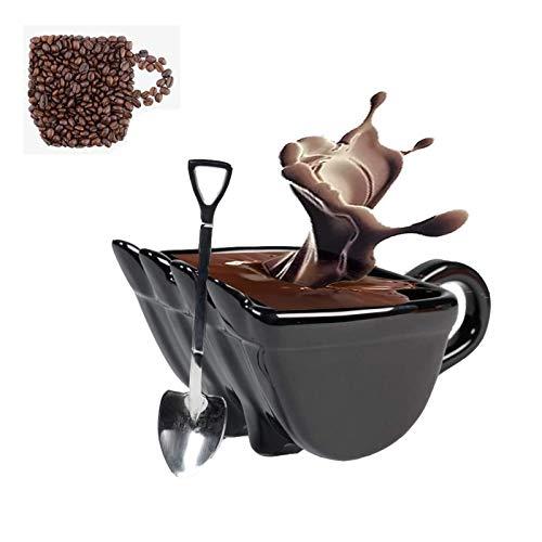 Bagger Eimer Tasse, Bagger Eimer Keramik Kaffeetasse, mit Edelstahl Schaufelform Löffel, personalisierte Bagger Eimer Modell Design Kaffee Neuheit Getränketasse (Black)