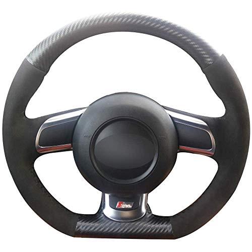 Cubierta de Volante de Coche de Gamuza Negra de Cuero de Fibra de Carbono en el Volante del Coche para Audi TT 2008-2013,redbluethread