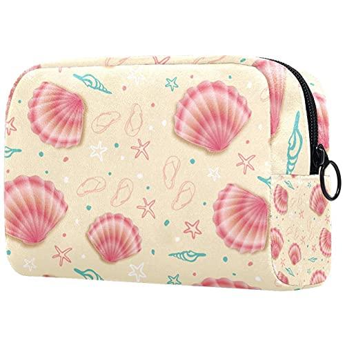 Neceser Maquillaje Portátil Conchas de mar Rosa Bolsa de Maquillaje Organizador de Maquillaje Bolso de Cosméticos de Viaje para niñas y Mujeres 18.5x7.5x13cm