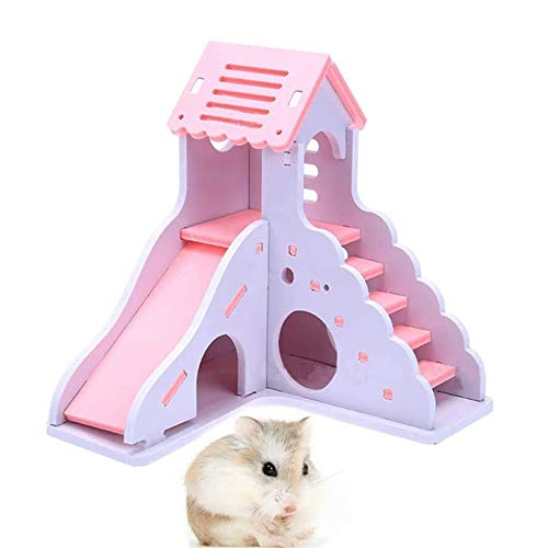 kathson hámster casa escondite Hideaway Ejercicio Juguetes para Rata, Enano hámster ratón pequeño Animal Kingdom, Durable Inodoro no tóxico de Madera Deluxe 2-Story Hut (Rosa)