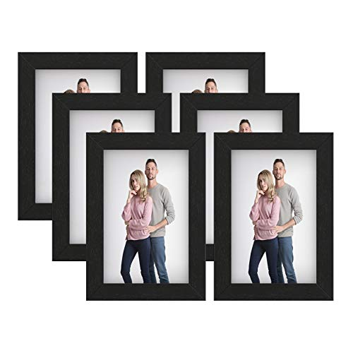 SONGMICS URPF043B01 - Marcos de fotos para fotos de 10,2 x 15,2 cm, tablero de fibra de densidad media, color negro