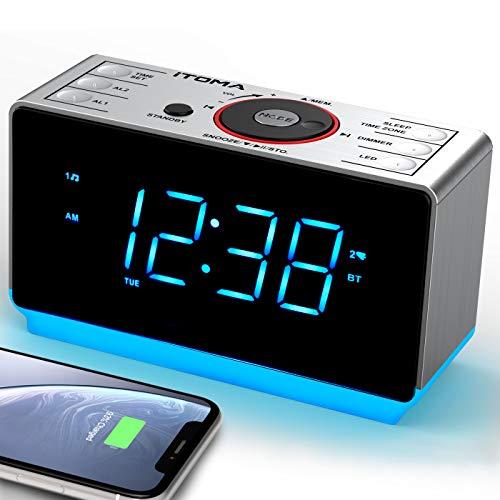 Radiosveglia con Bluetooth wireless, radio FM digitale, doppia sveglia, dimmer a 4 livelli, funzione di ricarica USB per cellulare, batteria di backup in caso di interruzione di corrente (CKS708BT)