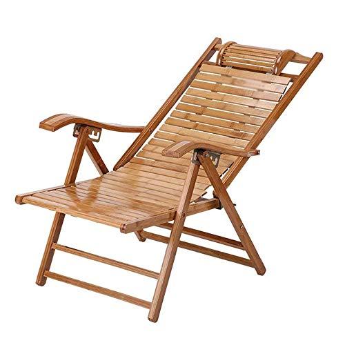 HIZLJJ Silla Plegable de bambú reclinable Mecedora de Madera Maciza - Volver Cero Gravedad sillas...