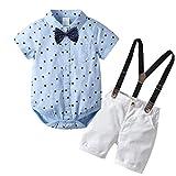 Allence Baby Jungen Bekleidung Set Festliche Kleidung Baumwolle Hemd Hose Hosenträger Taufanzug Gentleman Anzug Fliege Kinderbekleidung (70, Hellblau1)