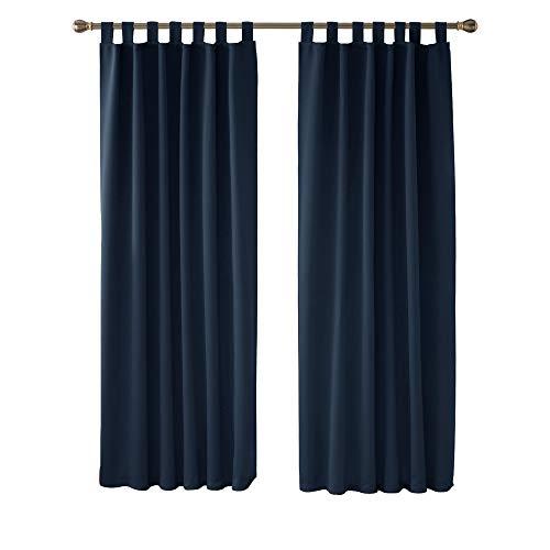 Deconovo Tende Finestre Soggiorno Oscuranti Termiche Isolanti con Passanti per Interni 107x214cm 2 Pannelli Blu Navy