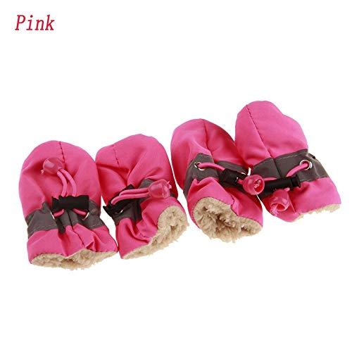JIUYUE 7 Maten Anti-slip Schoenen voor Honden 4 Stks/Set Warm Hond Laarzen Cashmere Hond Regenschoenen Puppy Sneakers Huisdier benodigdheden, 4, roze