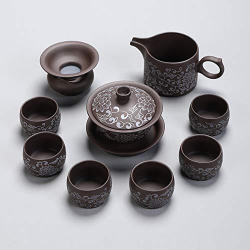 QCCOKNN - Juego de té de cerámica para el hogar, Color Morado