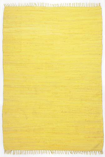 Dhurry | Fleckerl | Flachgewebe-Teppich aus 100% Baumwolle; handgewebt, waschbar, beidseitig verwendbar | 40 x 60 cm; Gelb | Happy Cotton