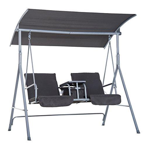 Outsunny Hollywoodschaukel Gartenschaukel Schaukel 2-Sitzer mit Sonnendach Grau 170 x 110 x 165cm