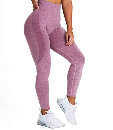 Lalamelon Leggins Deportivos sin Costuras Mujer Mallas Pantalones Fitness Push up de Cintura Alta Yoga Leggings Pantalón Estiramiento para Running Deporte y Pilates (Arena de Frijol,S)