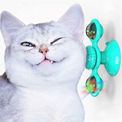 KRY Windmill Cat Toy with Catnip Ball and LED Ball Turntable Teasing, Funny Kitten Windmill ball Massage Scratch Brush (Blue)