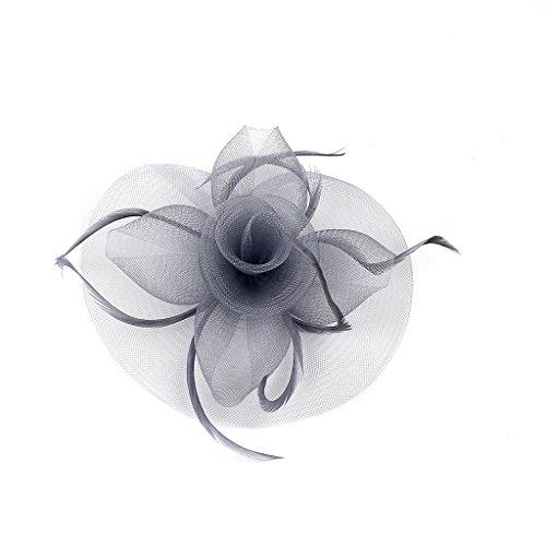 FORLADY Mujeres elegante sombrero nupcial pluma clip de pelo accesorios rollo de cóctel pluma de malla tocado