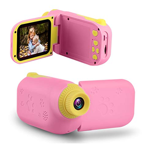 GKTZ Kids Video Camera Camcorder Digital Children's Toys DV Cameras Recorder with 2.4' 1080P FHD Screen for Age 3-10 Year Old Boys Girls Birthday Gifts,Including 32GB Memory Card - Pink