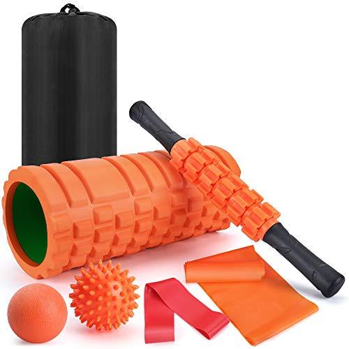 ヨガポール フォームローラー 筋膜リリース ストレッチ スティック トリガーポイント マッサージボール 7点の筋膜ローラー式セット フィットネス トレーニング器具 ストレス解消 筋肉痛改善 日本語説明書 収納袋付き